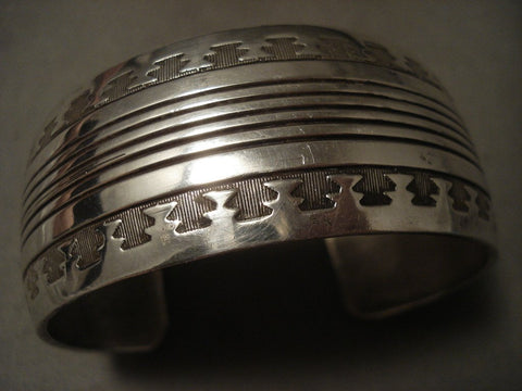 Very Important 'Navajo Codetalker Son' Hand Wrought Native American Jewelry Silver Bracelet-Nativo Arts
