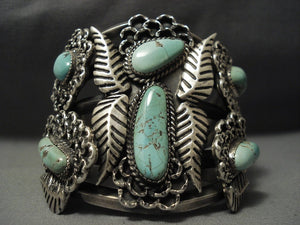 Very Important! Rare Mastrada Turquoise Vintage Navajo Huge Native American Jewelry Silver Bracelet-Nativo Arts