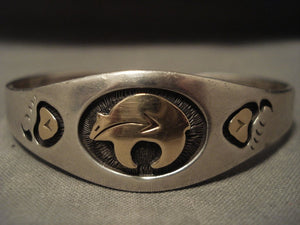 Very Important Smithsonian Quality Vintage Hopi Charles Supplee Gold Bracelet-Nativo Arts