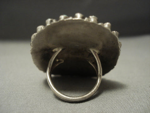 Very Important! Towering Vintage Navajo Victor Moses Begay Sterling Native American Jewelry Silver Ring-Nativo Arts