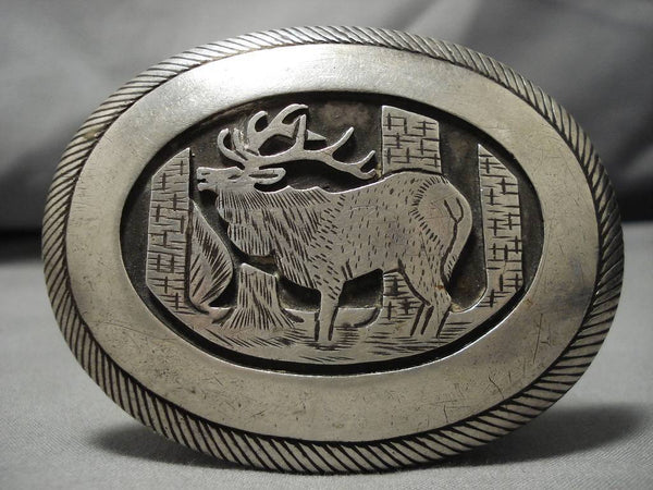 Very Important!! Vintage Native American Navajo Tom Bahe Sterling Silver Belt Buckle Old-Nativo Arts