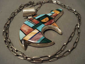 Very Important Vintage Navajo Alvin Yellowhorse Native American Jewelry Silver Bear Necklace-Nativo Arts