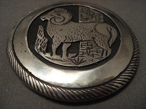 "VERY IMPORTANT VINTAGE NAVAJO """"ONE OF FIRST HALLMARKERS"""" SILVER BUCKLE-Nativo Arts"
