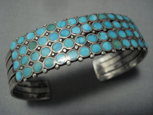 Very Important!! Vintage Zuni Dishta Turquoise Style Sterling Native American Jewelry Silver Bracelet-Nativo Arts