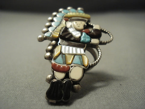 Very Large Vintage Zuni Turquoise Sterling Native American Jewelry Silver Kachina Dancer Ring-Nativo Arts