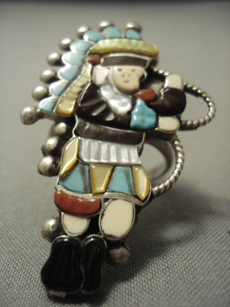 Very Large Vintage Zuni Turquoise Sterling Native American Jewelry Silver Kachina Dancer Ring