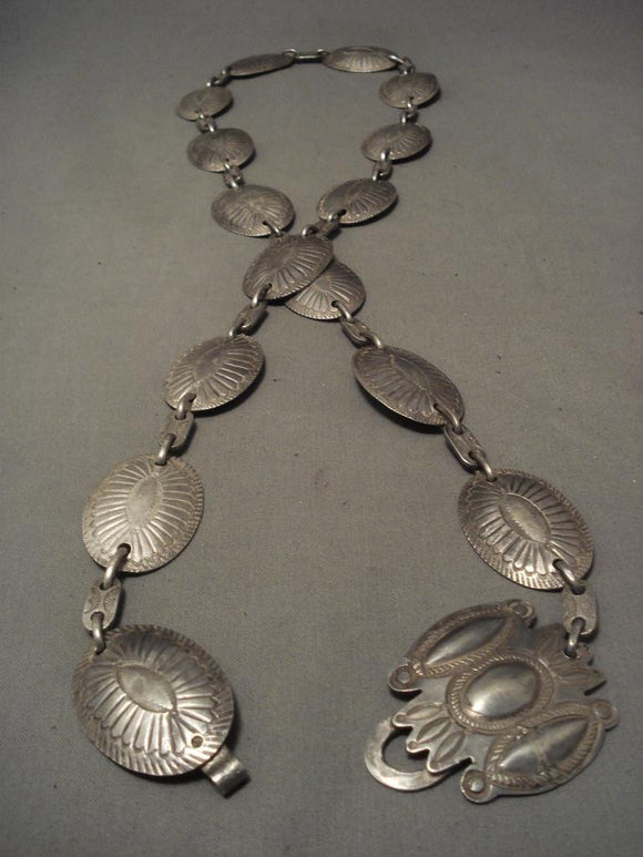 Very Old 1910's-1920's Hand Wrought Navajo Native American Jewelry Silver Concho Belt-Nativo Arts
