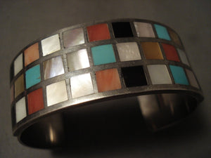 Very Old And Heavier Vintage Zuni 'Checkerboard Turquoise' Native American Jewelry Silver Bracelet-Nativo Arts