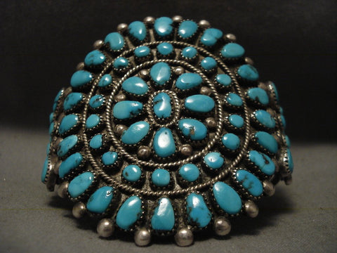 Very Old And Large Navajo Turquoise Native American Jewelry Silver Bracelet-Nativo Arts