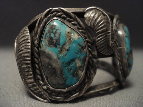 Very Old And Large Turquoise Native American Jewelry Silver Bracelet-Nativo Arts
