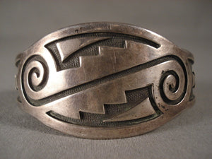 Very Old Early Vintage Hopi Native American Jewelry Silver Bracelet-Nativo Arts