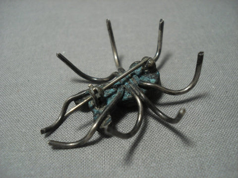 Very Old Handmade Sterling Native American Jewelry Silver Ant Coral Pin Old Pawn-Nativo Arts