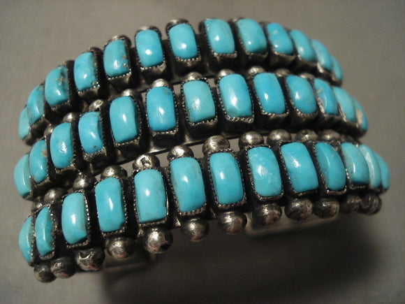 Very Old Huge Vintage Navajo 'Squared Turquoise' Native American Jewelry Silver Bracelet-Nativo Arts