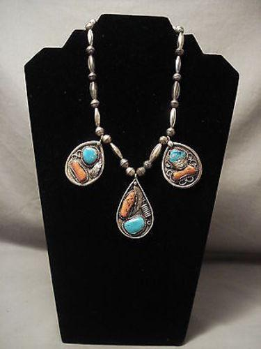 Very Old Navajo Blue Gem Turquoise Native American Jewelry Silver Tube Necklace Vintage-Nativo Arts