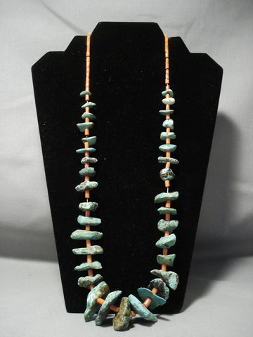 "Very Old Navajo Native American Jewelry jewelry Chunky Green Turquoise """"old Coral"""" Necklace Vtg-Nativo Arts"