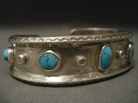 Very Old Navajo Natural Bisbee Turquoise Native American Jewelry Silver Bracelet-Nativo Arts