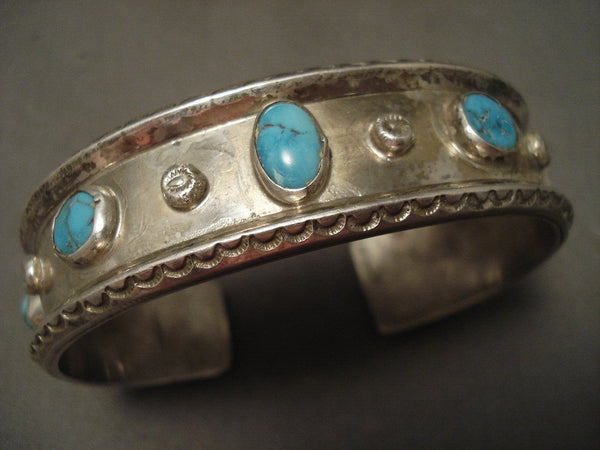 Very Old Navajo Natural Bisbee Turquoise Native American Jewelry Silver Bracelet