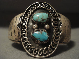 Very Old Navajo Persian Turquoise Native American Jewelry Silver Bracelet-Nativo Arts