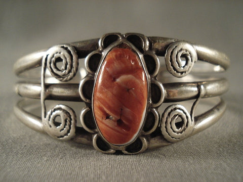 Very Old Navajo Spiny Oyster Native American Jewelry Silver Ingot Bracelet-Nativo Arts