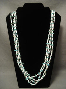 Very Old Santo Domingo Kewa Turquoise Heishi Necklace-Nativo Arts