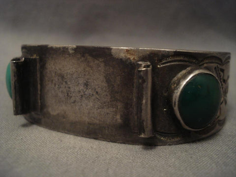 Very Old Vintage Cerrillos Turquoise Navajo Ingot Native American Jewelry Silver Watch Bracelet-Nativo Arts