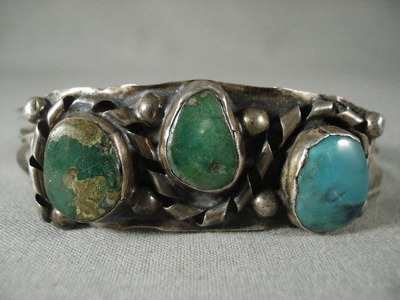 Very Old Vintage Navajo Green Turquoise Native American Jewelry Silver Bracelet-Nativo Arts