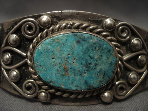 Very Old Vintage Navajo Ingot Native American Jewelry Silver Turquoise Bracelet-Nativo Arts