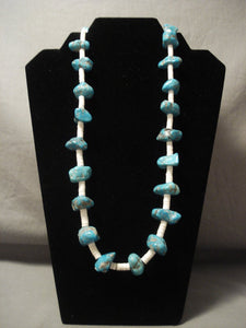 Very Old Vintage Navajo Native American Jewelry jewelry Persian Turquoise Necklace-Nativo Arts