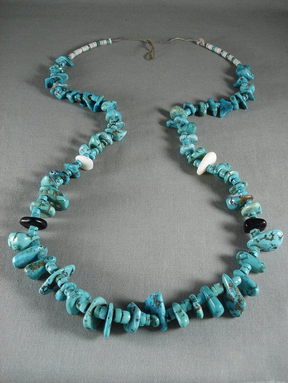 Very Old Vintage Navajo Native American Jewelry jewelry Turquoise Nugget Necklace-Nativo Arts