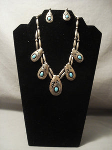 Very Old Vintage Navajo Native American Jewelry Silver Turquoise Necklace-Nativo Arts