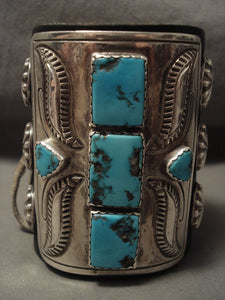 Very Old Vintage Navajo 'Natural Turquoise' Native American Jewelry Silver Ketoh Bracelet-Nativo Arts