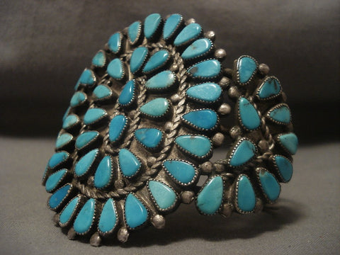 Very Old Vintage Navajo Turquoise Native American Jewelry Silver Bracelet-Nativo Arts