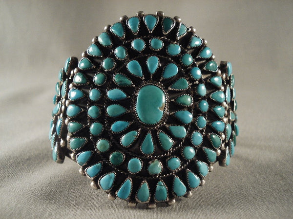 Very Old Vintage Navajo Turquoise Native American Jewelry Silver Bracelet Native Vtg