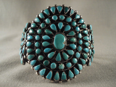 Very Old Vintage Navajo Turquoise Native American Jewelry Silver Bracelet Native Vtg-Nativo Arts