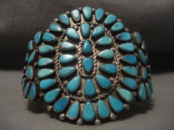 Very Old Vintage Navajo Turquoise Native American Jewelry Silver Bracelet