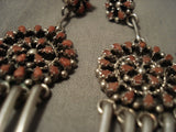 Very Old Vintage Zuni/ Navajo Natural Coral Native American Jewelry Silver Earrings-Nativo Arts