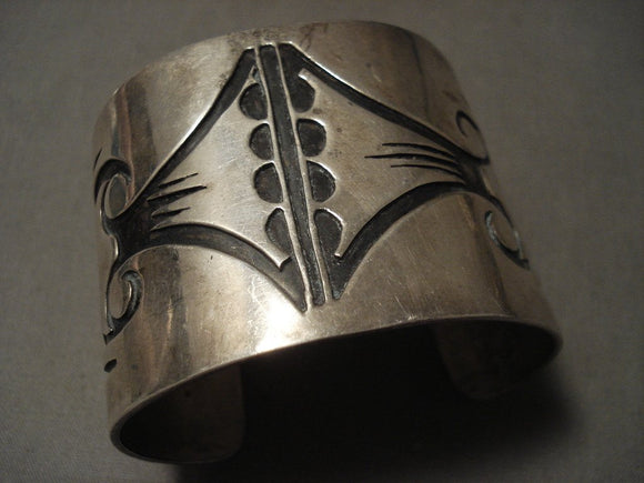 Very Old Wide Vintage Hopi Hand Tooled Native American Jewelry Silver Bracelet-Nativo Arts