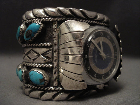Very Rare Old Navajo Wes Willie Turquoise Native American Jewelry Silver Wtach Bracelet-Nativo Arts