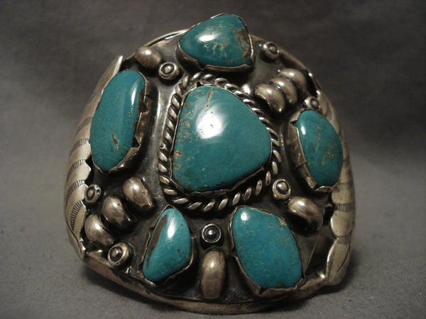 Very Rare stamped Leaf Native American Jewelry Silver Turquoise Bracelet