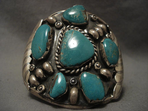 Very Rare stamped Leaf Native American Jewelry Silver Turquoise Bracelet-Nativo Arts