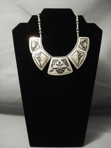 Very Rare Vintage Hopi Geometric Older Sterling Native American Jewelry Silver Necklace-Nativo Arts