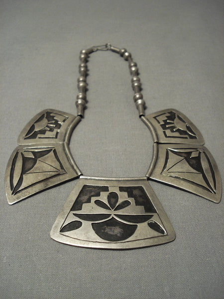 Very Rare Vintage Hopi Geometric Older Sterling Native American Jewelry Silver Necklace