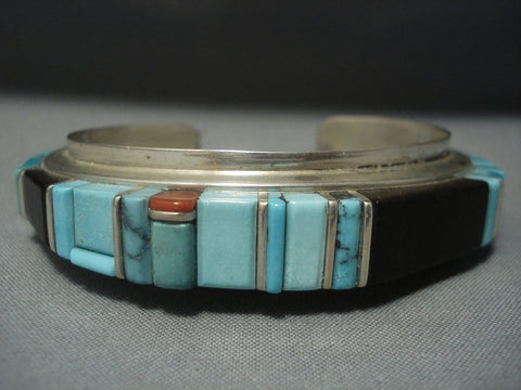 Very Rare Vintage Hopi Sherian Loloma Charles Turquoise Sterling Native American Jewelry Silver Bracelet-Nativo Arts