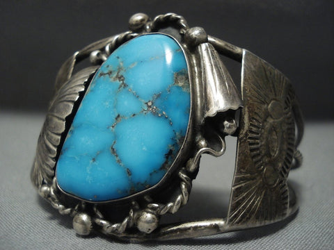 Very Rare Vintage Navajo Blue Wind Turquoise Sterling Native American Jewelry Silver Bracelet Old-Nativo Arts