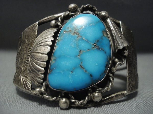 Very Rare Vintage Navajo Blue Wind Turquoise Sterling Native American Jewelry Silver Bracelet Old