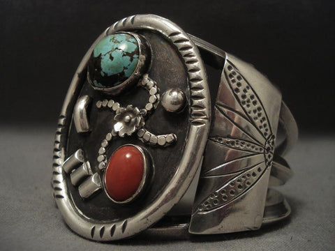 Very Rare Vintage Navajo domed Crow Springs Turquoise Native American Jewelry Silver Bracelet-Nativo Arts