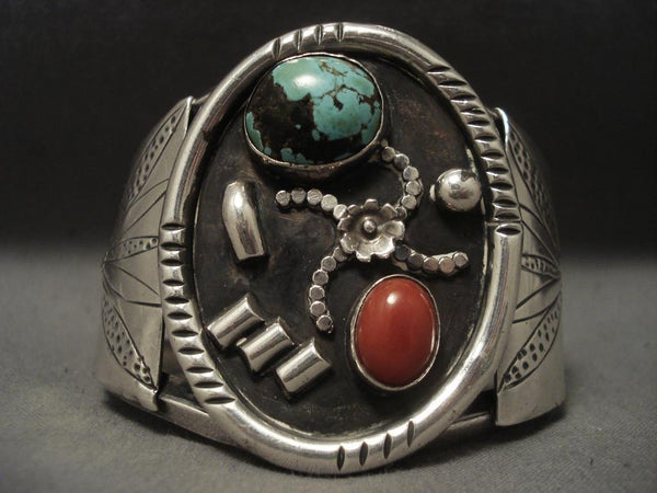 Very Rare Vintage Navajo domed Crow Springs Turquoise Native American Jewelry Silver Bracelet