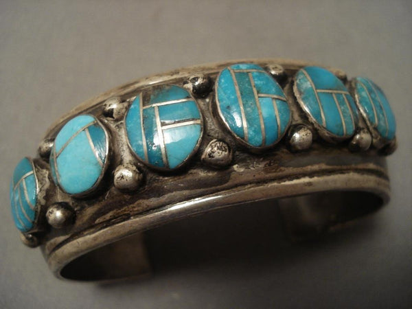 Very Rare Vintage Navajo Easter Blue Turquoise Inlay Native American Jewelry Silver Bracelet