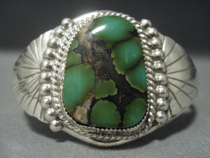 Very Rare Vintage Navajo Green Damale Turquoise Sterling Native American Jewelry Silver Bracelet-Nativo Arts