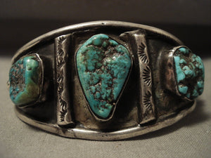 Very Rare Vintage Navajo 'Green Deposit Old Kingman Turquoise' Native American Jewelry Silver Bracelet-Nativo Arts
